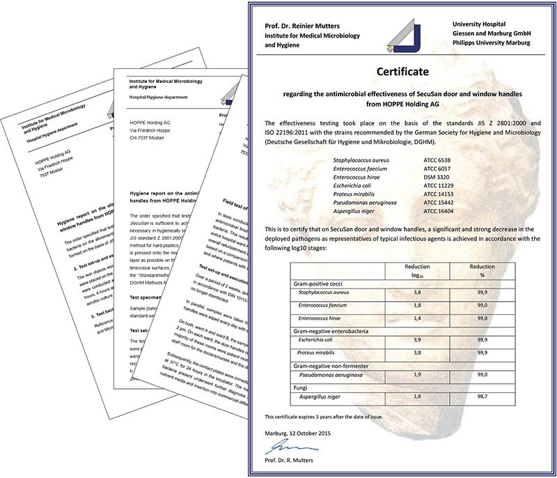 Certificate regarding the antimicrobial effectiveness of SecuSan®