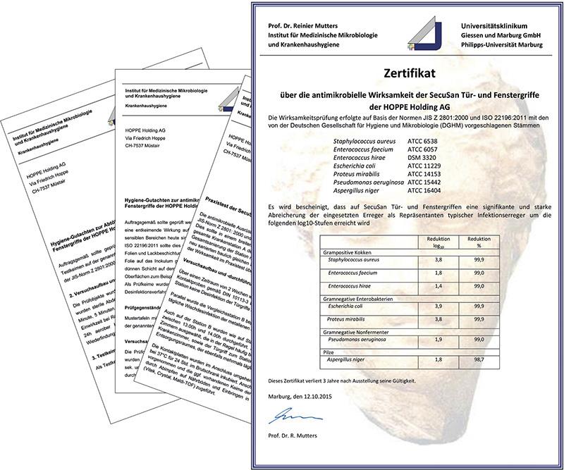Zertifikat zur Wirkungsweise von SecuSan®
