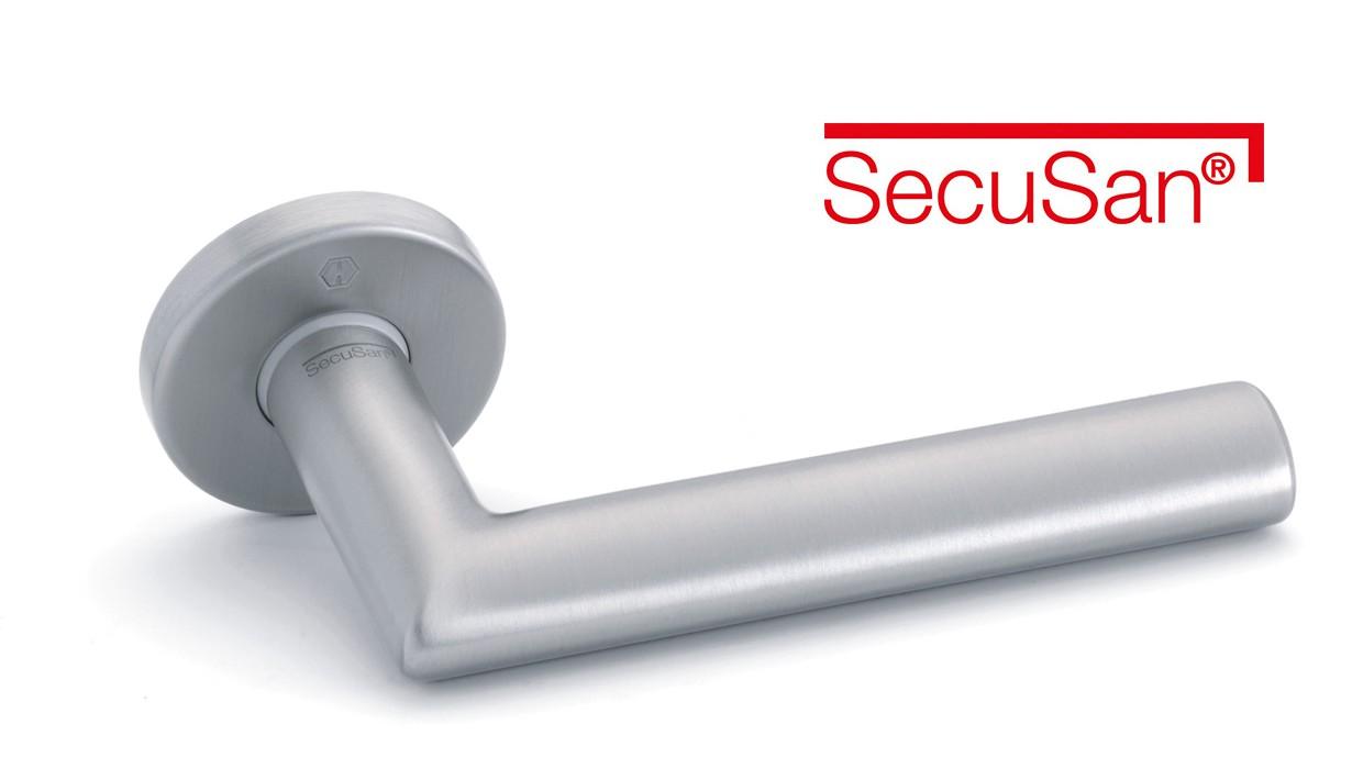 SecuSan® surface antibactérienne et antimicrobienne pour les poignées de porte et de fenêtre